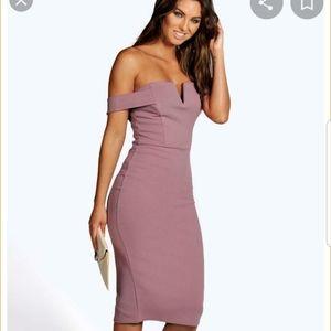 Boohoo Midi off shoulder Bodycon dress size 6